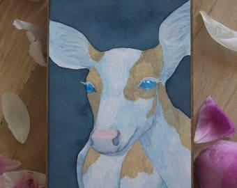 """Original Watercolor """"Demure"""" - Piebald Deer Watercolor Painting"""