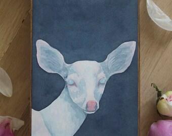 """Original Watercolor """"Albinism"""" - Albino Fawn Watercolor Painting"""