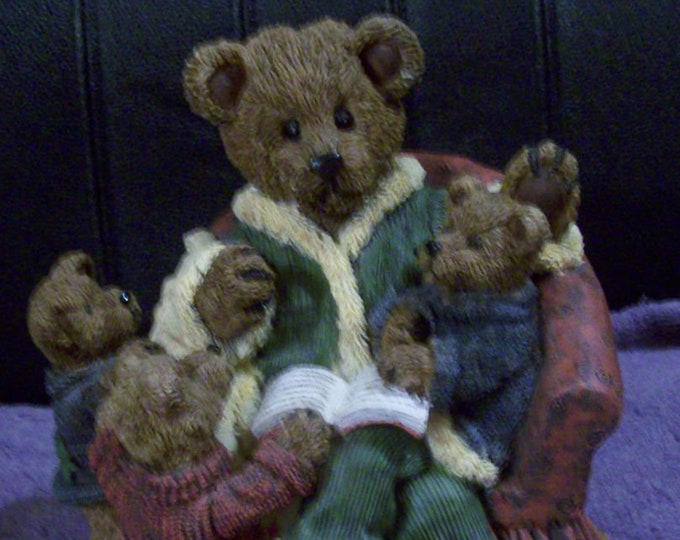 Mama Teddy Reads to her Young Teddies