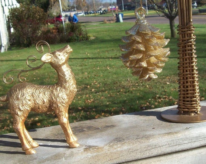 Gold Deer and Pine Cone   FREE SHIPPING