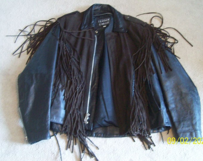 Size Large  69.95  BlackBrown Suede Leather  Fringed Motorcycle Jacket  FREE SHIPPING