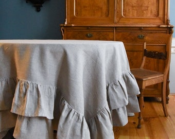 Linen tablecloth, round linen tablecloth with two ruffles, ruffled tablecloth, eco tablecloth