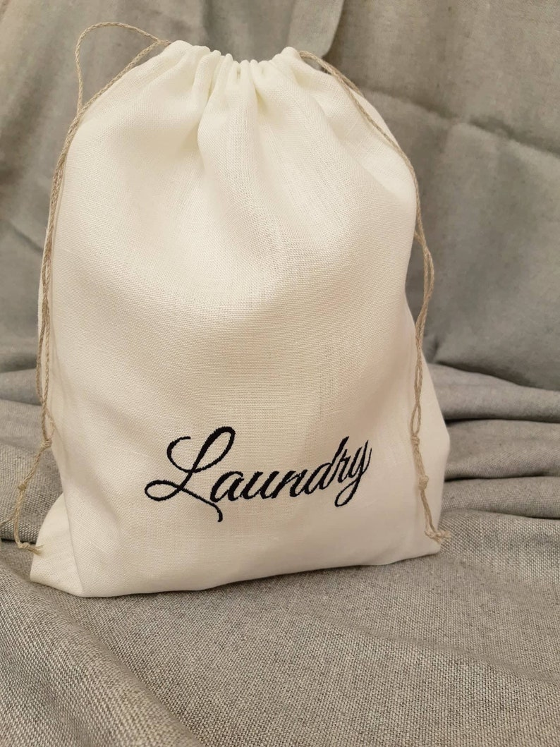 Embroidered laundry bag Travel lingerie bag Drawstring laundry bag custom embroidery Lingerie bag storage bag linen pouch handmade by SANPO