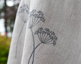Round tablecloth with dill embroidery, Washed linen round tablecloth, Round table linen, Plants embroidered tablecloth