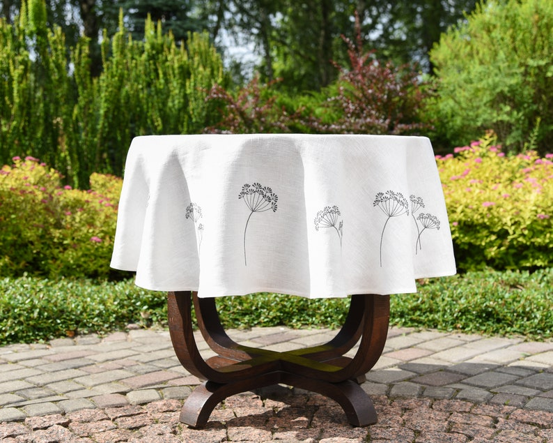 6955502a851c Off white linen round tablecloth with dill embroidery eco
