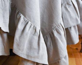 Linen tablecloth with ruffles, linen volant tablecloth, linen tablecloth, white linen tablecloth, gray linen tablecloth