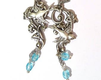 Silver plated branch flower arabesque flying bird earrings and Pearl drop blue art