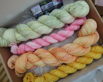 Summer Term @ Malory Towers - Hand Dyed Sock Yarn, Variegated Indie Dyed Speckled 4-ply Yarn. Sock box, yarn box set