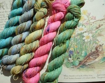 5 X 20g Hand Dyed Yarn Mini Skein Set 75/25 Superwash Merino/Nylon 4ply, Indie Dyer, Sock Mini's, rainbow pastel speckle yarn