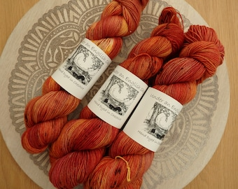 Squirrel Nutkin Goes a Nutting Hand Dyed Sock Yarn, Fingering Weight, 4-Ply Yarn, Red Gold Yellow Indie Dyed Sparkle yarn. Autumn Yarn