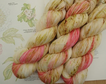 Village Fete - Hand Dyed Pink Speckled Sock Yarn, Indie Dyed Fingering Weight 4-ply Speckled Yarn