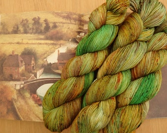 Along the Towpath - Hand Dyed Sock Yarn, 4-Ply Variegated Green, Yellow, Speckled Indie Dyed Yarn, Fingering Weight