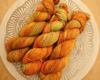 Autumn On The Homestead -Hand Dyed Sock Yarn, Speckled Indie Dyed Yarn, Autumn Variegated Sock Yarn, Speckled Autumn Yarn, Autumn Knitting