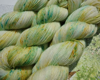 Down In The Meadow - Hand Dyed Blue Yellow Speckle Yarn, Sock Yarn, 4-ply Hand Dyed Fingering Weight Yarn, Indy Dyed Sparkle Sock Yarn
