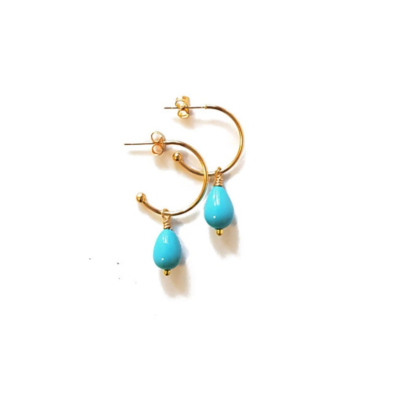Half hoop earrings with turquoise shell drop shapped