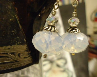 White Swarovski Crystal and Sterling Silver Drop Earrings,Bridal.Prom.Ethereal