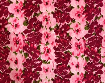 7d77883286 Vintage Pink and Red Chiné Striped Flora Cotton Fabric, c. 1950s (35