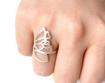 Butterfly Wing Ring, Handcrafted sterling silver, statement jewellery,