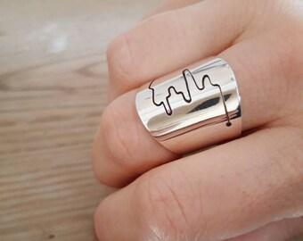 Sumatra ring, handmade sterling silver jewellery, large statement ring, designer style, river design, ajustable ring