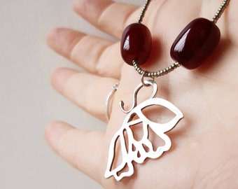 Handcrafted Butterfly Wing Necklace, sterling silver pendant with red glass beads, designer jewellery
