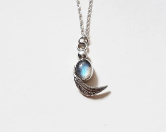 Feather necklace with labradorite semi precious stone, handmade sterling silver pendant, blue gemstone, statement necklace