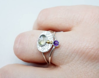 Mycenae Ring, handcrafted designer sterling silver jewellery, with labradorite cabochon and facetted amethyst