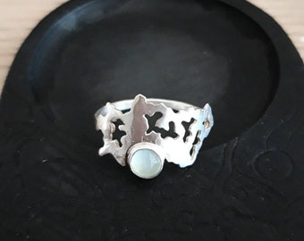 Lace Ring, handmade sterling silver with chalcedony facetted stone, unique jewellery designer maker
