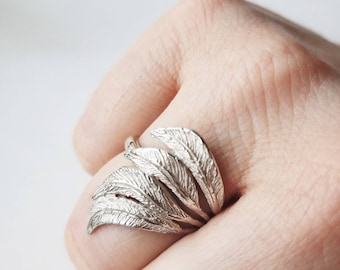 Bird Wing ring, handmade jewellery, feathers ring, designer sterling silver ring, statement ring, gift for her