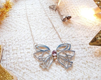 Handmade amethyst butterfly necklace, sterling silver pendant with amethyst gemstone