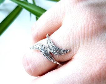 Feathers on my finger, handmade sterling silver ring, feather jewellery, statement ring, gift for her, party wear
