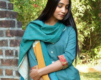 Meditation shawl -Hand-embroidered kantha patchwork reversible in ramie and cotton - green blue orange beige