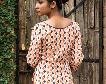 long sleeved V cooped neck tunic - hand block printed cotton - orange and indigo blue