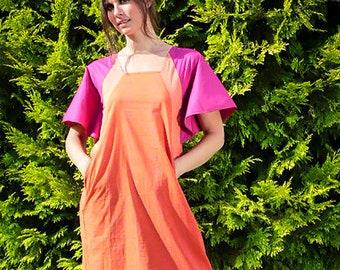 hand block printed dress - orange and pink