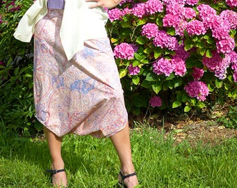 pantaskirt with pockets  printed pink and blue cashmere patterns on white cotton - harem pants