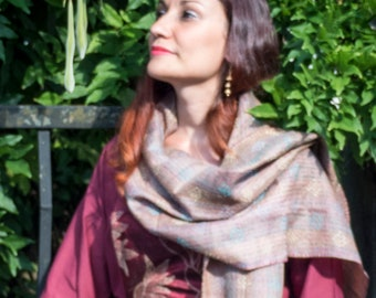 hand embroidered conscious kantha scarf – patchwork of subtle hues of pale rose and greensilk – perfect meditation shawl