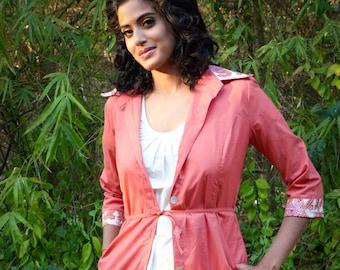 coral summer jacket or shirt dress - hand block printed cotton - natural dye: madder and vintage kimono
