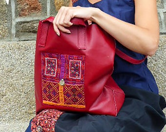 Red boho chic tote bag, leather and vintage textile
