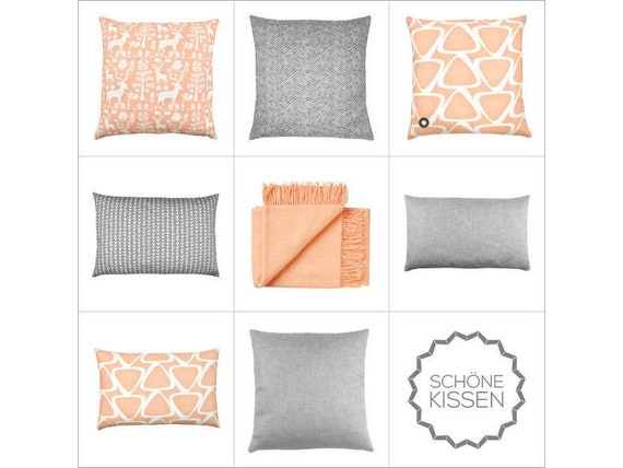 1 Upholstery Cushion Cover Retro 50x50 Apricot Pastel White Pillow Pillow Retro Graphic Scandinavian Country House Style Jace