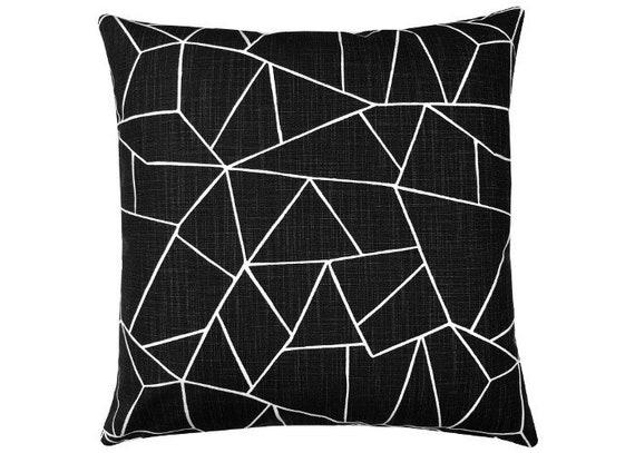 Kissenbezug Schwarz Weiß 40x40 Dekokissen Geometrisch Grafisch Leinenstruktur Minimalistisch Home Accessoires Cutglass