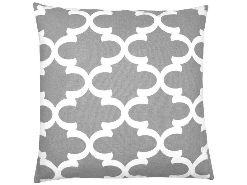 Kissenhülle Kissen 40x40 Grau Weiß Orientalisch Gittermuster Grafisch Geometrisch Skandinavisch Landhausstil Fynn