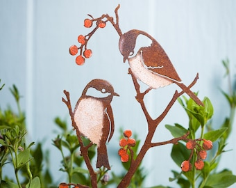 Black-Capped Chickadees and Berries - Stake   Hand Painted   Indoor or Outdoor Decor   S924P