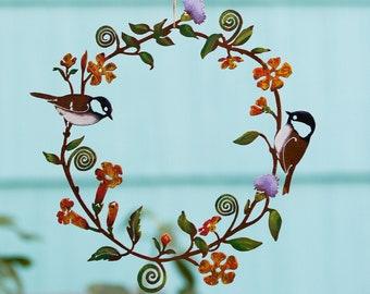 Chickadees & Flowers Wreath Wall Art   Hand Painted   R224