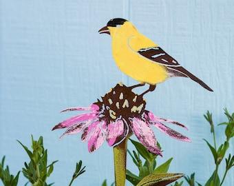 Gold Finch on Coneflower (Echinacea) - Stake   Hand Painted   Wild Bird Art Gifts   S922P