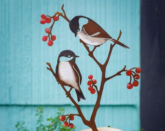 Metal Hand Painted Chickadees and Berries Garden Art   Black-Capped Chickadee Silhouette   Rusted Yard Art   Garden Gifts   B772P
