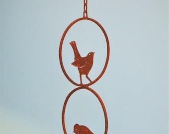Triple Bird Ring Mobile   Wild Bird Art   Metal Mobile Hanging   Bird Lovers Gift   Porch Hanger   Garden Gift   Metal Bird Decor   M302