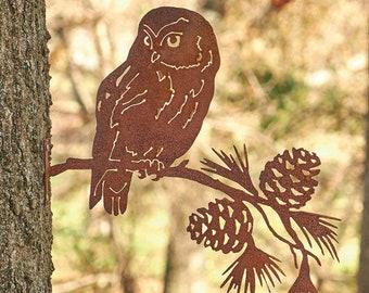 Saw-Whet Owl on Pine Branch, Pine Tree Metal Art, Pine Cone Metal Art, Garden Gift, Outdoor Metal Accent Piece, Pacific Northwest Art   M422
