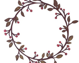 Leaf & Berry Wreath - LARGE - Painted   R223P