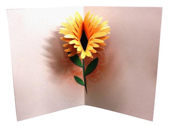 Flower Birthday Pop Up Card Template Printable Diy Etsy
