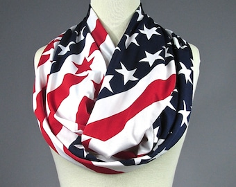 American Flag scarf, Patriotic infinity scarf
