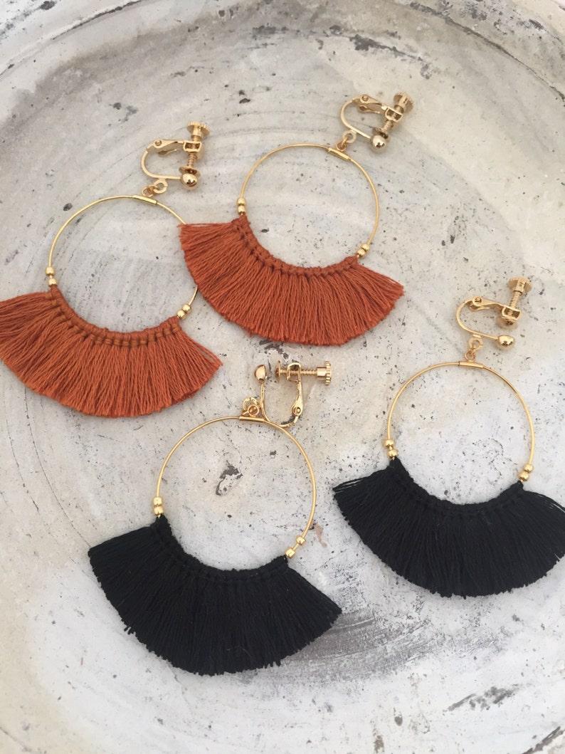 Tassel Earrings Fringe Earrings Dangle Earrings Gold hoop image 0